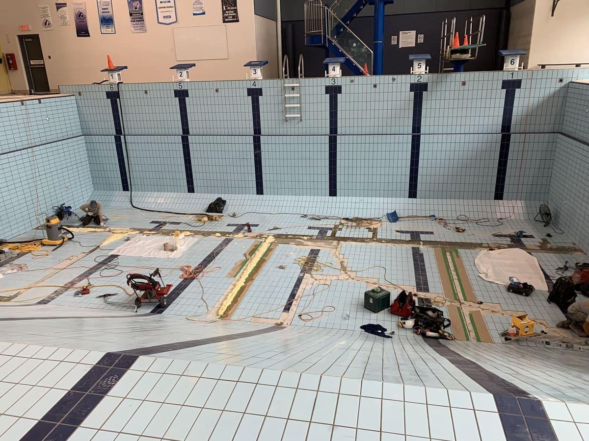 Réparation problème d'étanchéité de la piscine municipale de Victoriaville